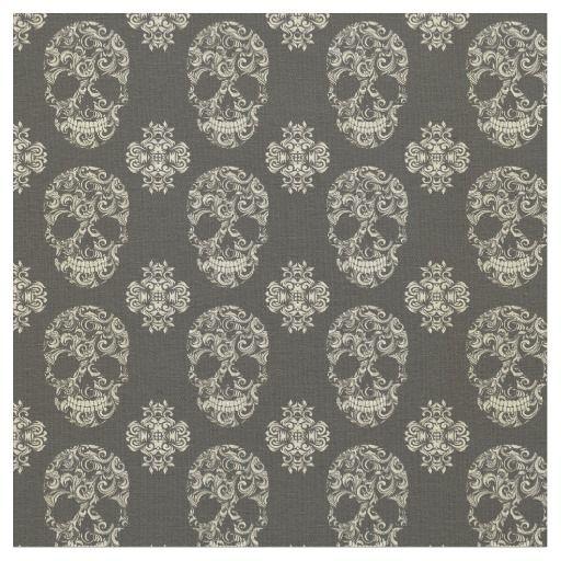Black,khaki,sugar skull,halloween,pattern,damasks, fabric