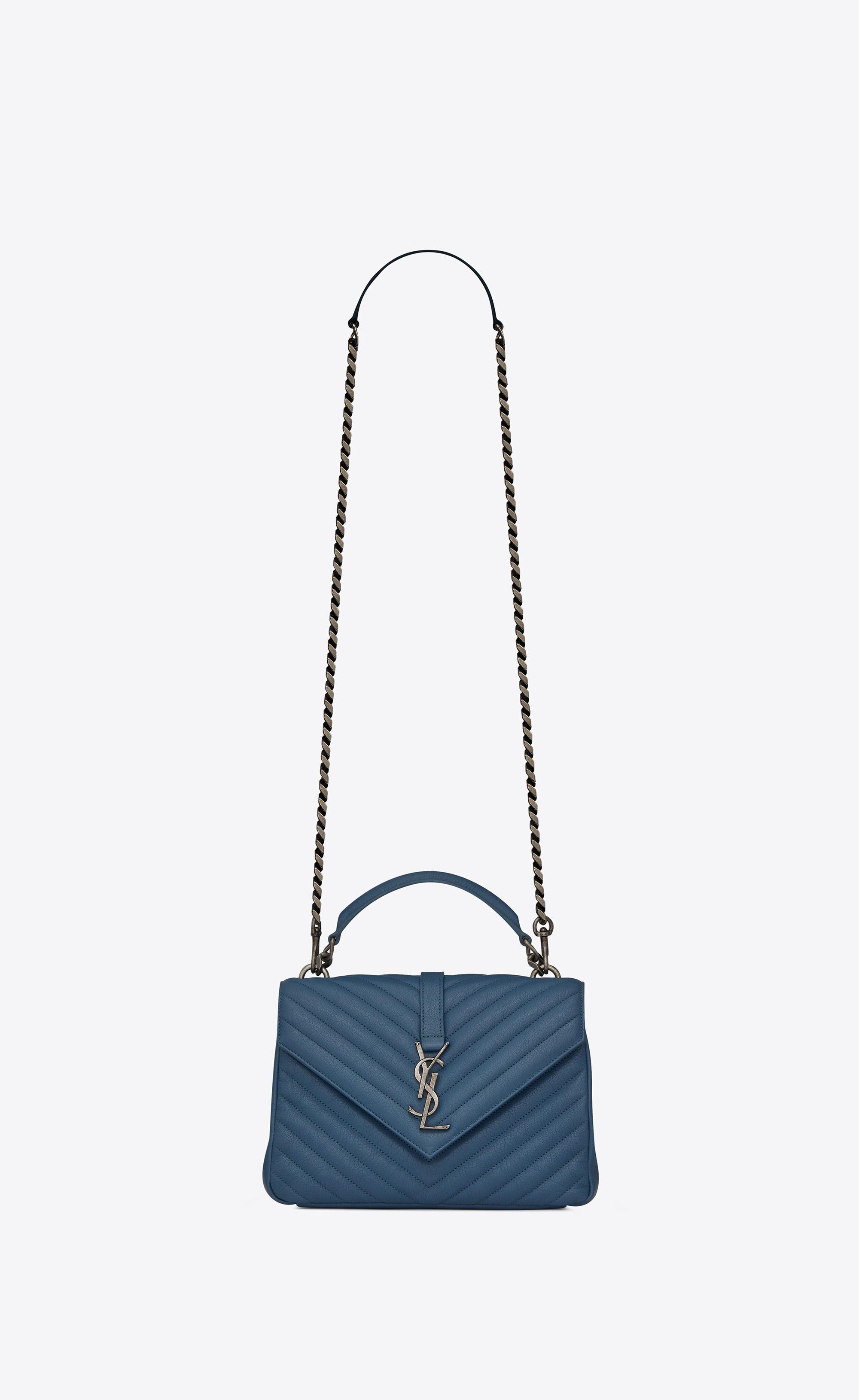 e348b0729a2 Saint Laurent Medium COLLEGE Bag In Denim Blue Quilted Leather   YSL.com