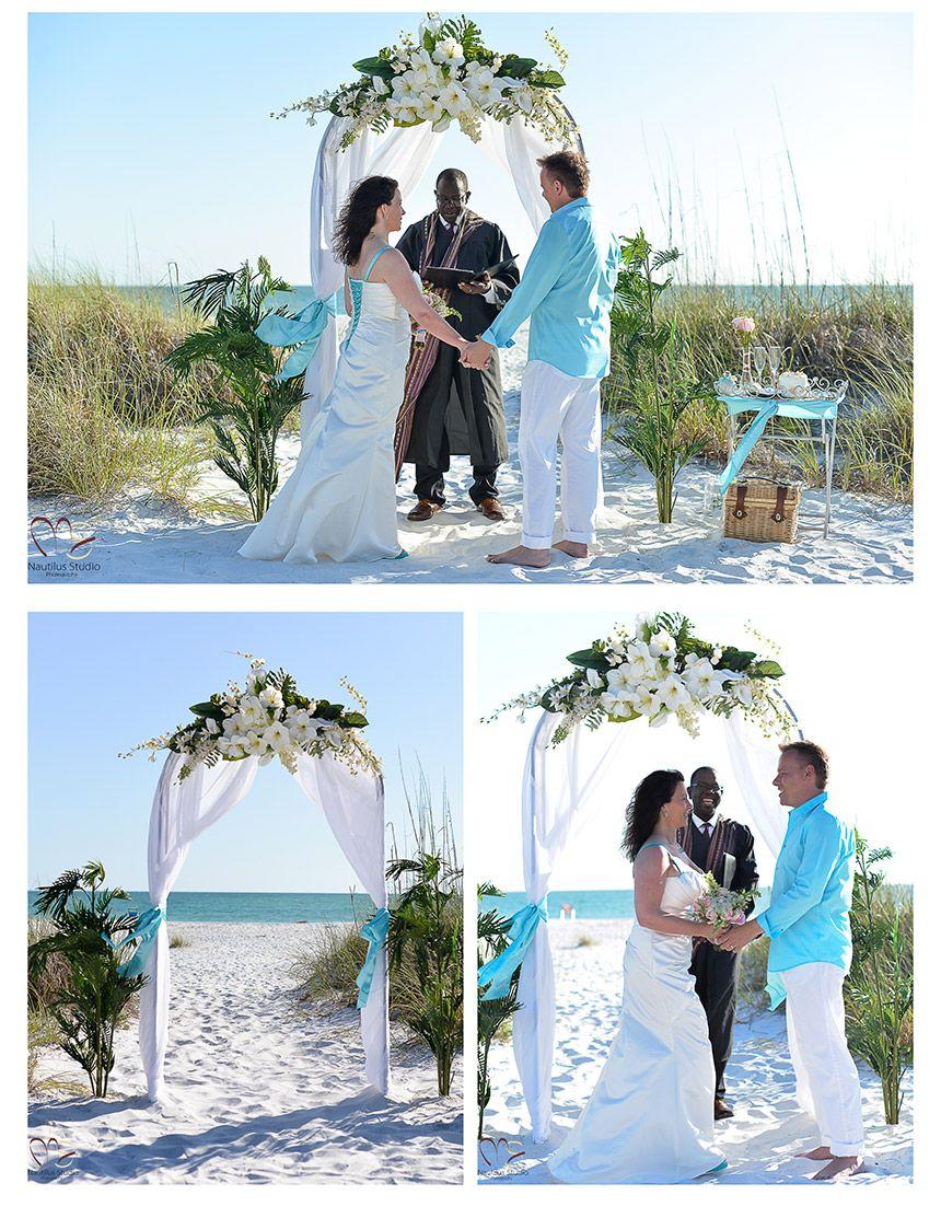 White round wedding arch with turqoise | Beach Wedding and wedding ...