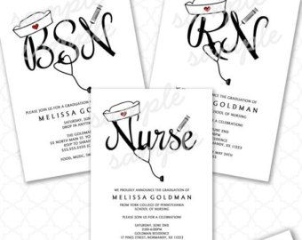 FUN Nurse Graduation Invitations RN BSN nurse pinning ceremony