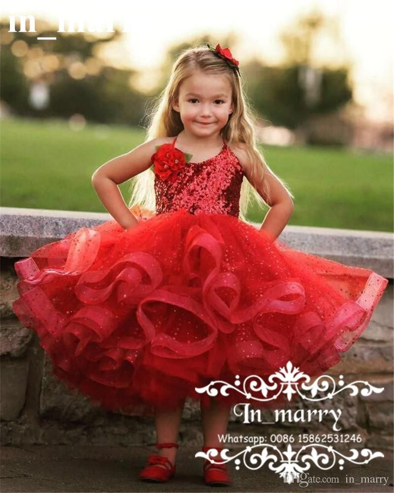 af763ef160 Sparkly Red Sequined Pageant Flower Girls Dresses For Weddings 2017 Ball  Gown Halter Tiered Tulle Skirt Little Girls First Communion Gowns Flower  Girls ...