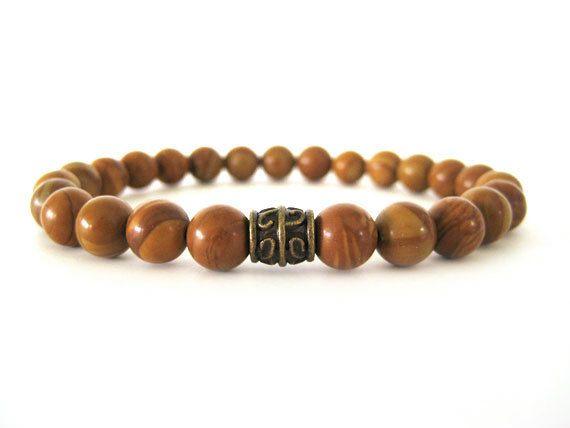 Men's Bracelet - Beaded Stretch Bracelet - Wood Jasper ...