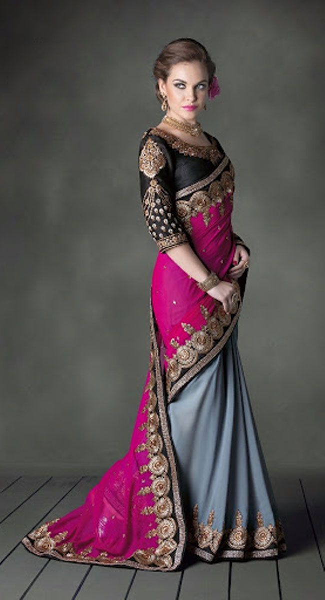 291b8c6cbce4e Grey color Designer Light Embroidered faux georgette saree ...