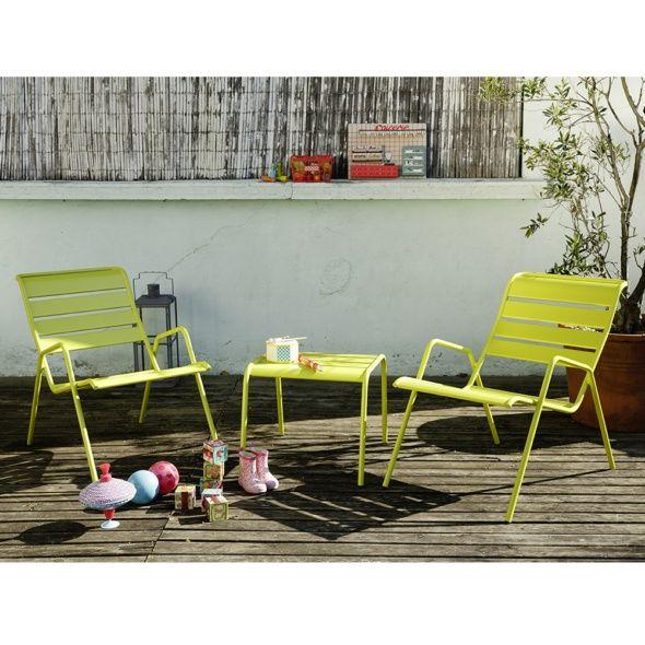 Salon de jardin Fermob Monceau : table basse + 2 fauteuils ...