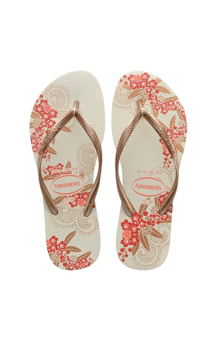 9812f21a87af Havaianas Slim Organic White and Gold Rose Sandal
