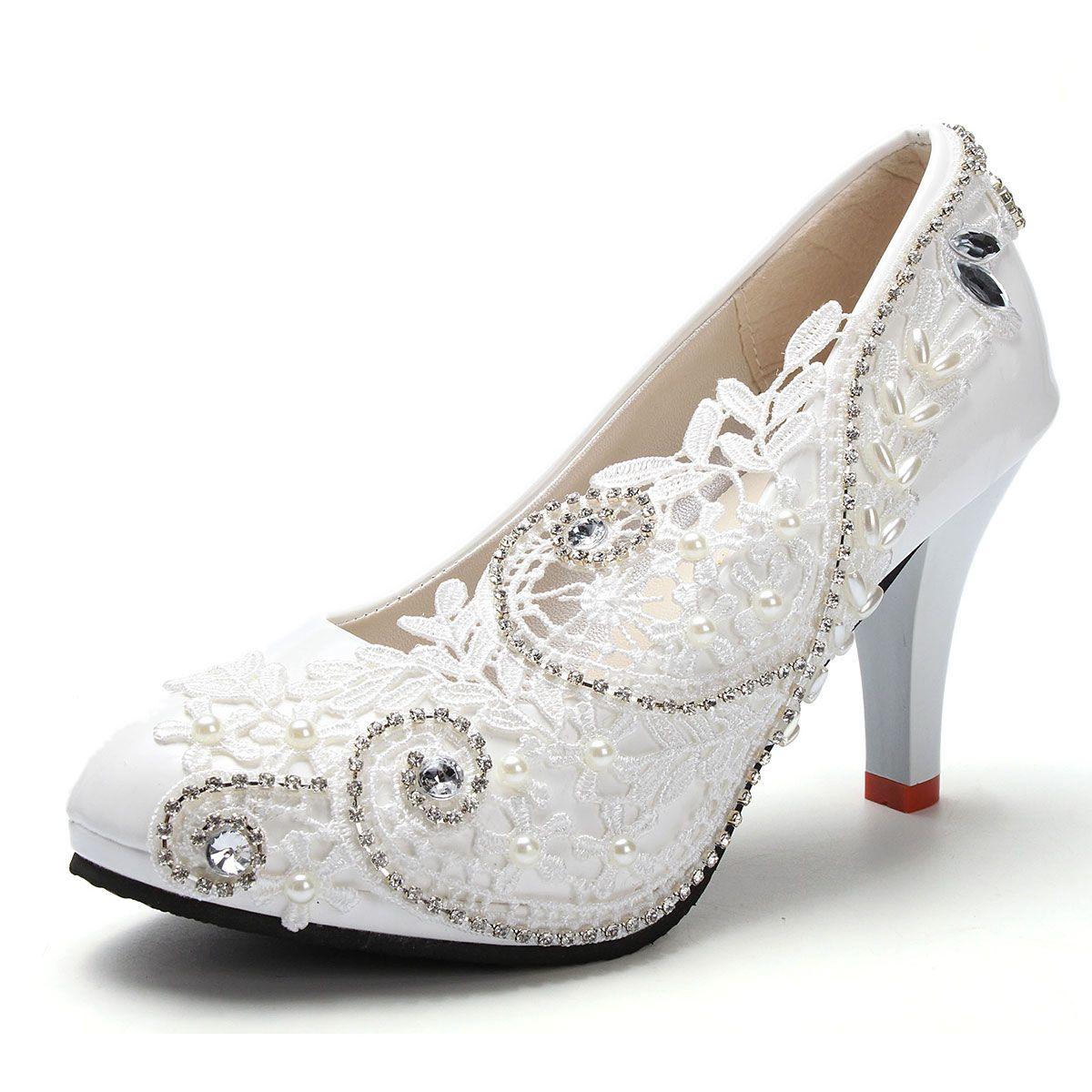 Sommer Mode Weißes Licht Elfenbein Spitze Kristall Hochzeit Schuhe ...