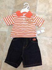ecko newborn clothes   NWT Infant Boys Ecko Unltd Orange Striped Polo Shirt Jean Shorts Size ...