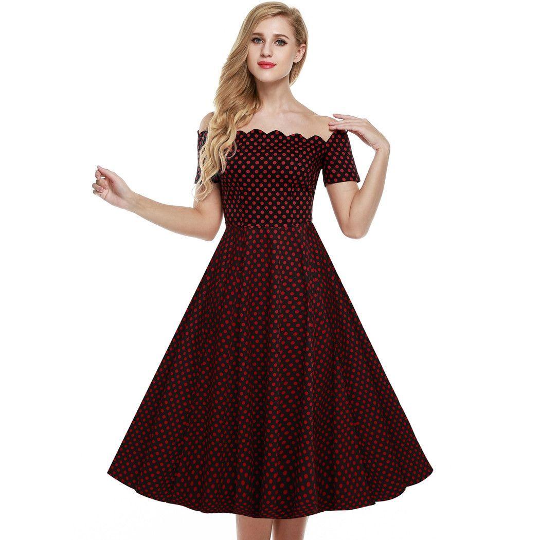 Redublack retro off shoulder cap sleeve plain swing party dress