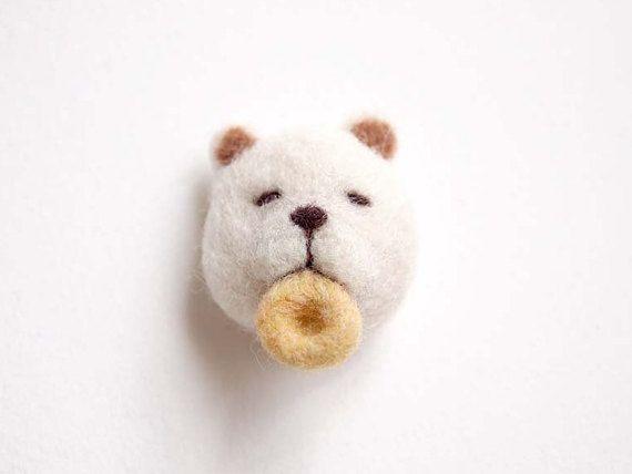 Needle Felted Bear Eating Doughnut Brooch