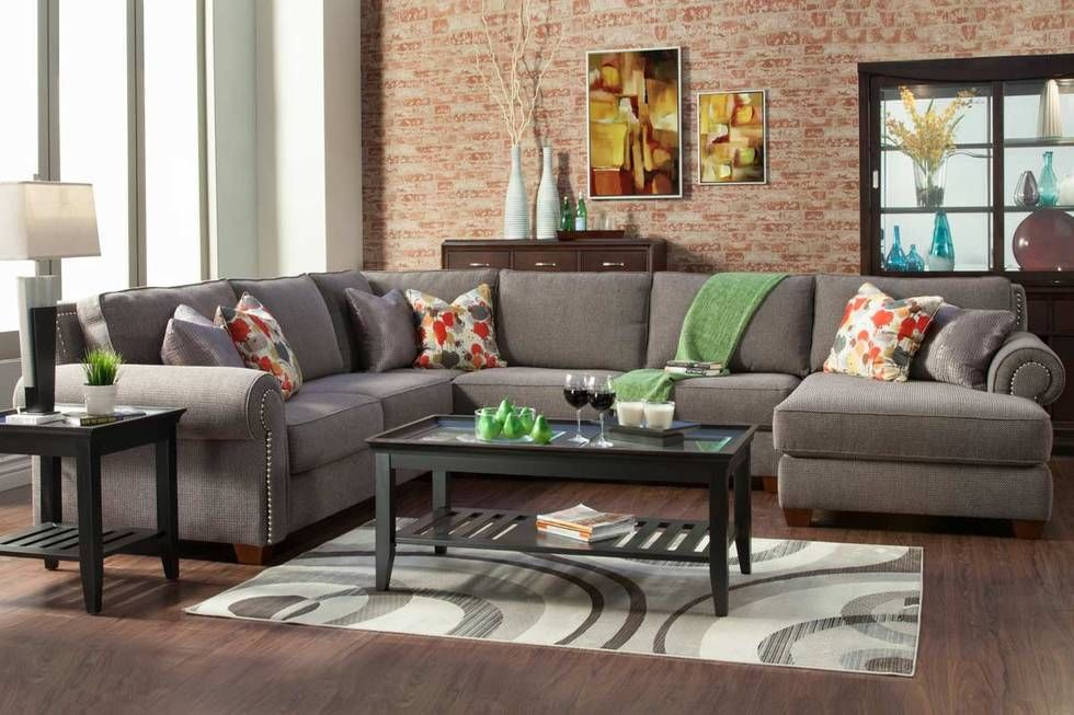 Elegant This Over Sized, Beautiful Custom Sectional Boasts Of A Plush Grey Textured  Fabric (optional), Studded Arms (optional), A Choice Of Accent Pillows.