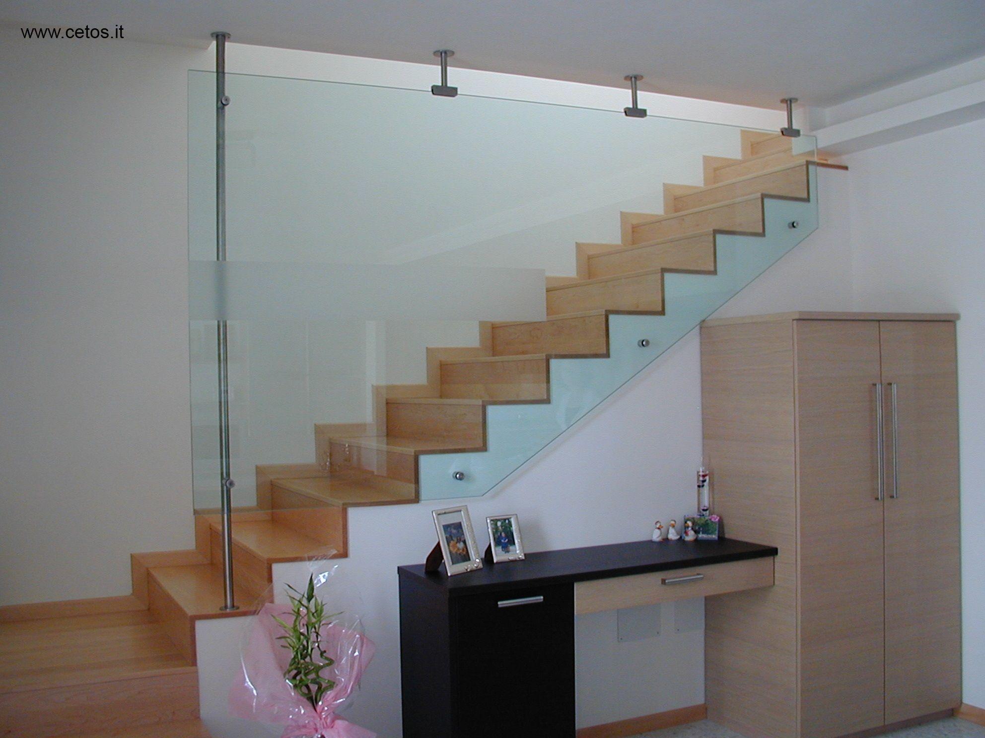 Parapetto in vetro per scala parapetti e corrimano - Corrimano in vetro per scale ...