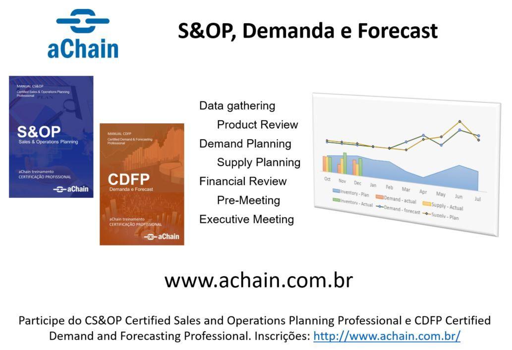 S&OP, Demanda e Forecast: novas turmas para o CS&OP Certified Sales and Operations Planning Professional e CDFP Certified Demand and Forecasting Professional. Inscrições: http://www.achain.com.br/