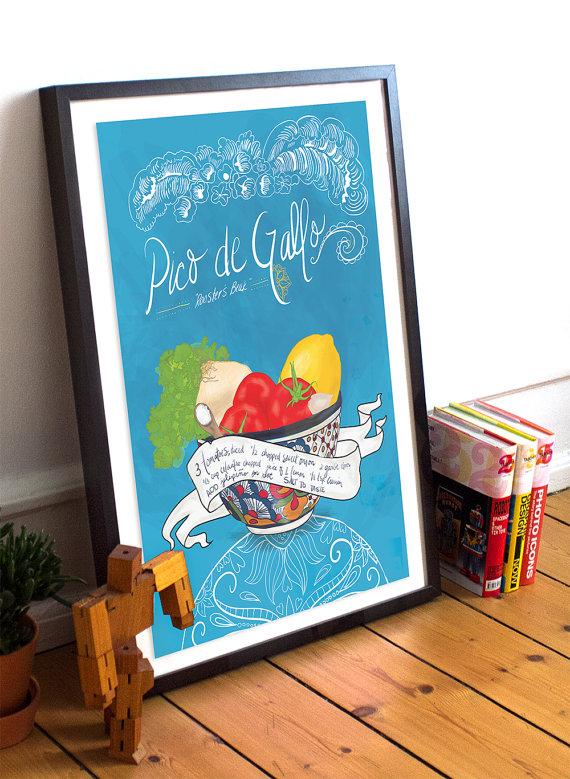 Pico De Gallo Recipe Mexican Kitchen Print Ilrated Dia Los Muertos Salsa Giclee Cotton Canvas Or Paper Wall Decor Art