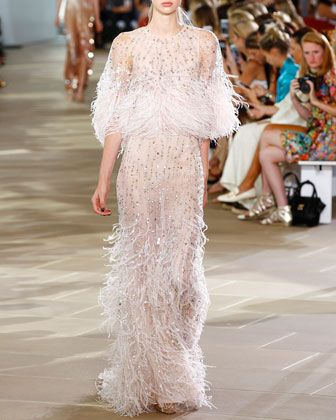 0c4953be5 Beaded Ostrich Feather Gown, Blush by Monique Lhuillier at Neiman Marcus.