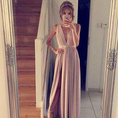 d440e493f7ba Elegant Chiffon Dusty Pink Prom Dress Long Formal Evening Dress With Side  Slt, FSS980 from romanticdress