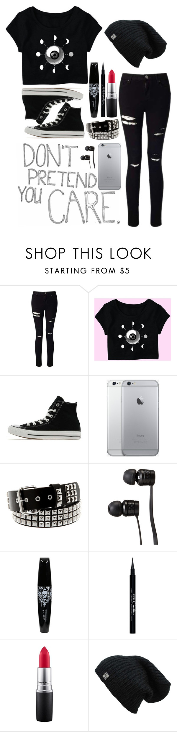 """No one cares..."" by exotic-demon-wolf ❤ liked on Polyvore featuring Love Quotes Scarves, Miss Selfridge, Converse, Vans, Givenchy and MAC Cosmetics"
