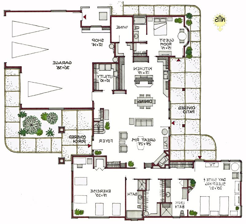 beautiful green floor plans #5: Sunriver New Construction Green House Plan 4191sl
