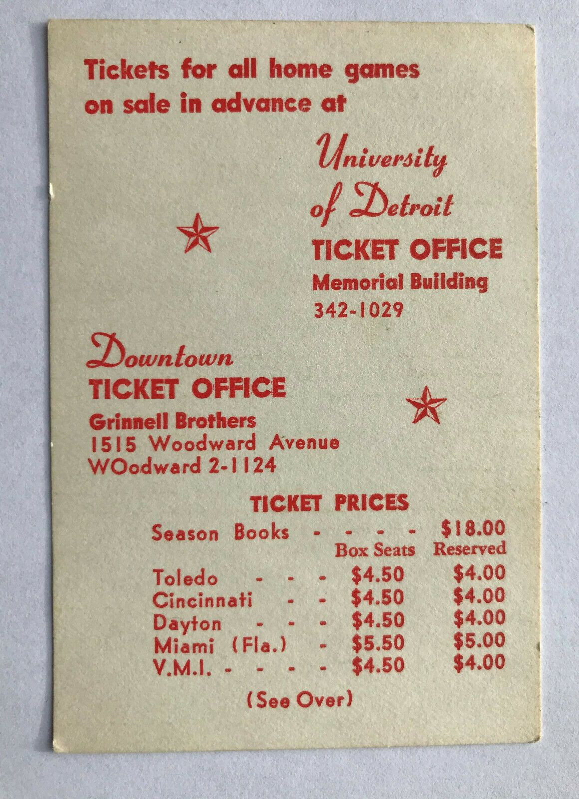 CFB 1964 UNIVERSITY of DETROIT TITANS College Football