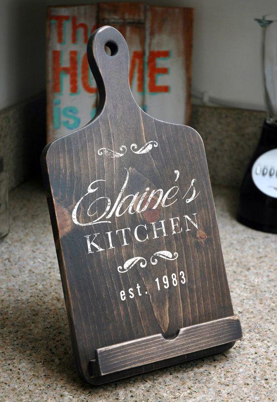 Attractive Handmade IPad Stand In Dark Brown Kitchen Cookbook Holder Combo, Rustic  Wood, Cutting Board
