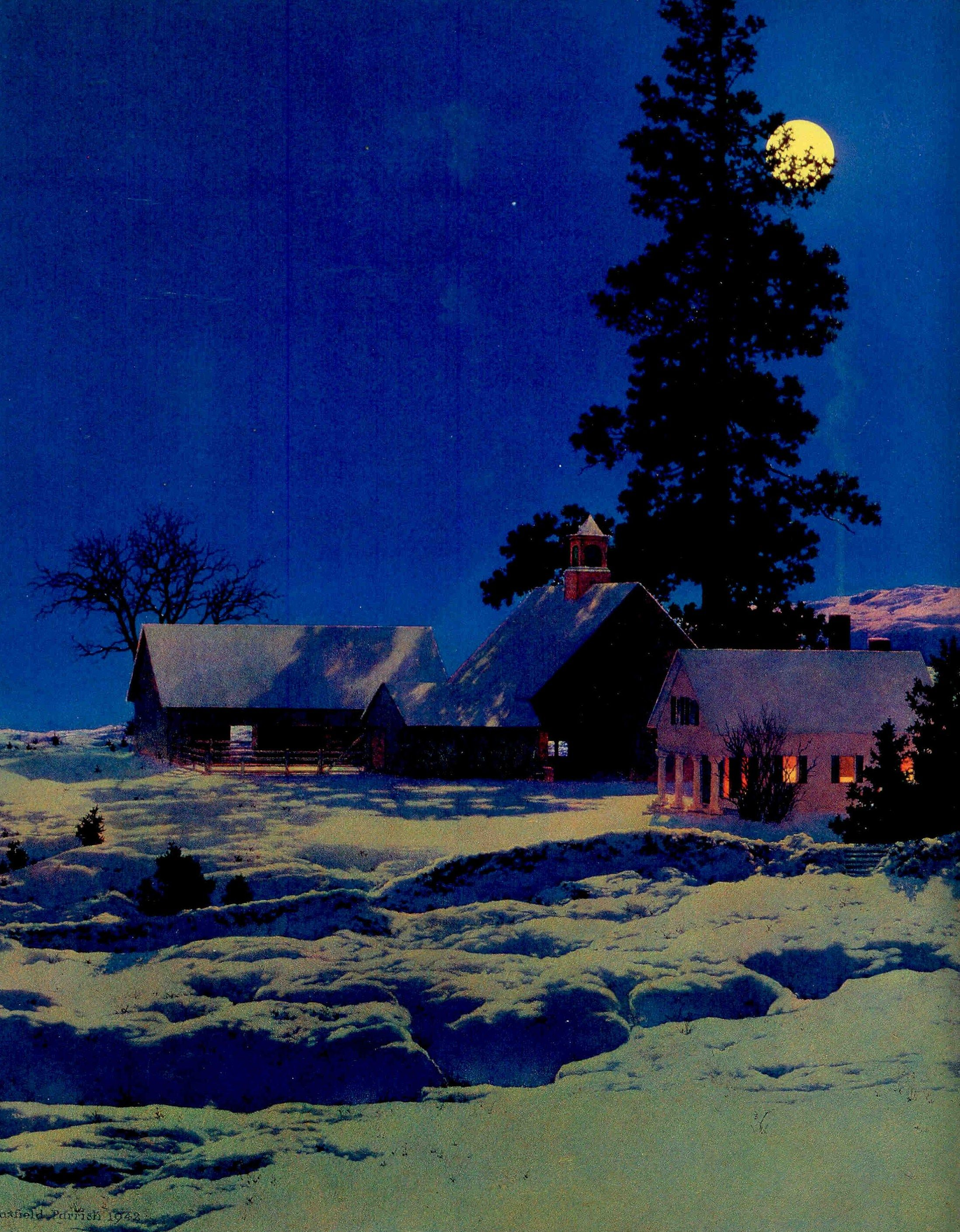 Maxfield Parrish Moonlight Night 22x30 Hand Numbered Ltd Edition Art Deco Print