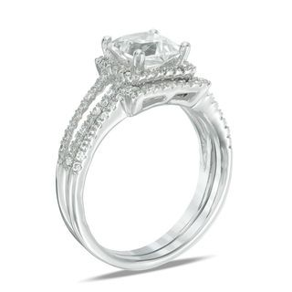 816138482b88ef 6.0mm Princess-Cut Lab-Created White Sapphire and 1/4 CT. T.W. Diamond  Frame Split Shank Bridal Set in 10K White Gold | View All Wedding | Wedding  | Zales
