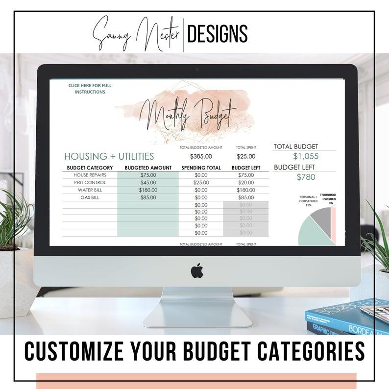 Budget Planner Spending Tracker Excel Budget Budget Etsy Budget Planner Budgeting Excel Budget