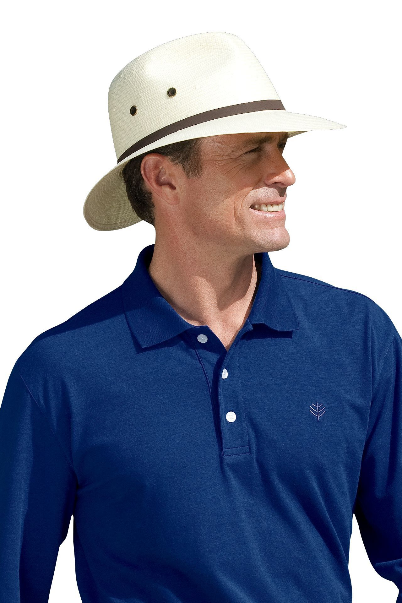 1b656f33f0e Not all men s golf hats offer style and UV protection rolled into one. Our  Coolibar Fairway Golf Hat is a classic choice for shading the sensitive  skin on ...