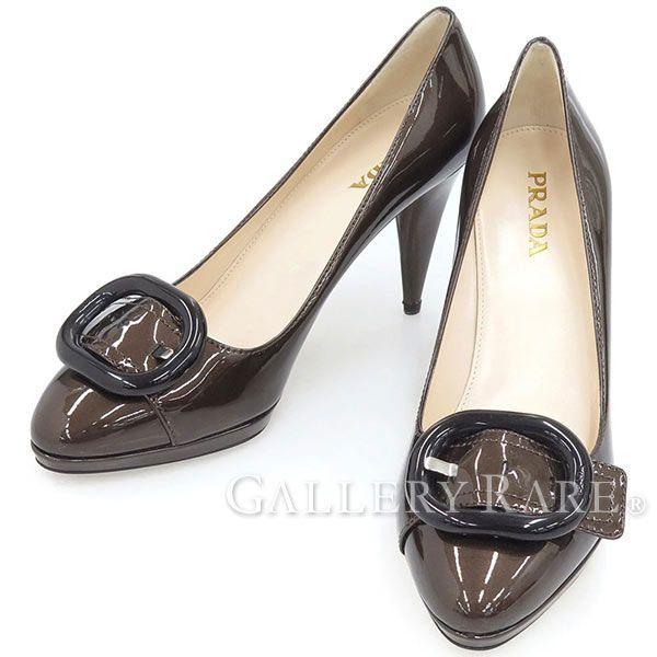 プラダ パンプス エナメル バックルモチーフ VERNICE TAFFETAS レディースサイズ37 1/2 1P813A PRADA 靴