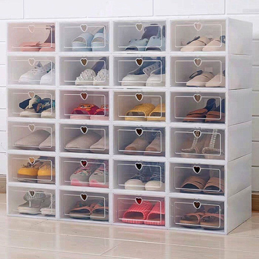 Plastic Shoe Box Rack Drop Front Storage Organizer Stashoe Pro One Piece Box Drop Front Organizer Piece Plas In 2020 Shoe Storage Plastic Shoe Boxes Shoe Box