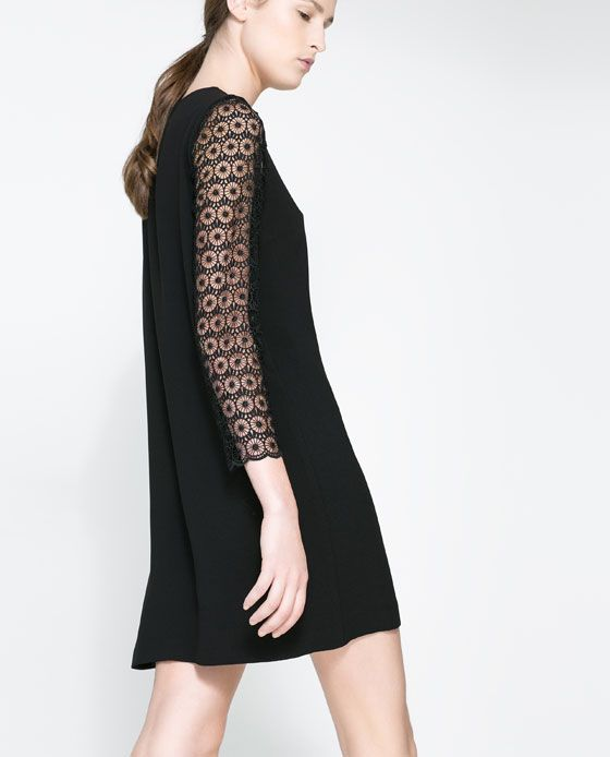 6351cd28 Image 3 of DRESS WITH GUIPURE LACE SLEEVE from Zara | Fashion ...