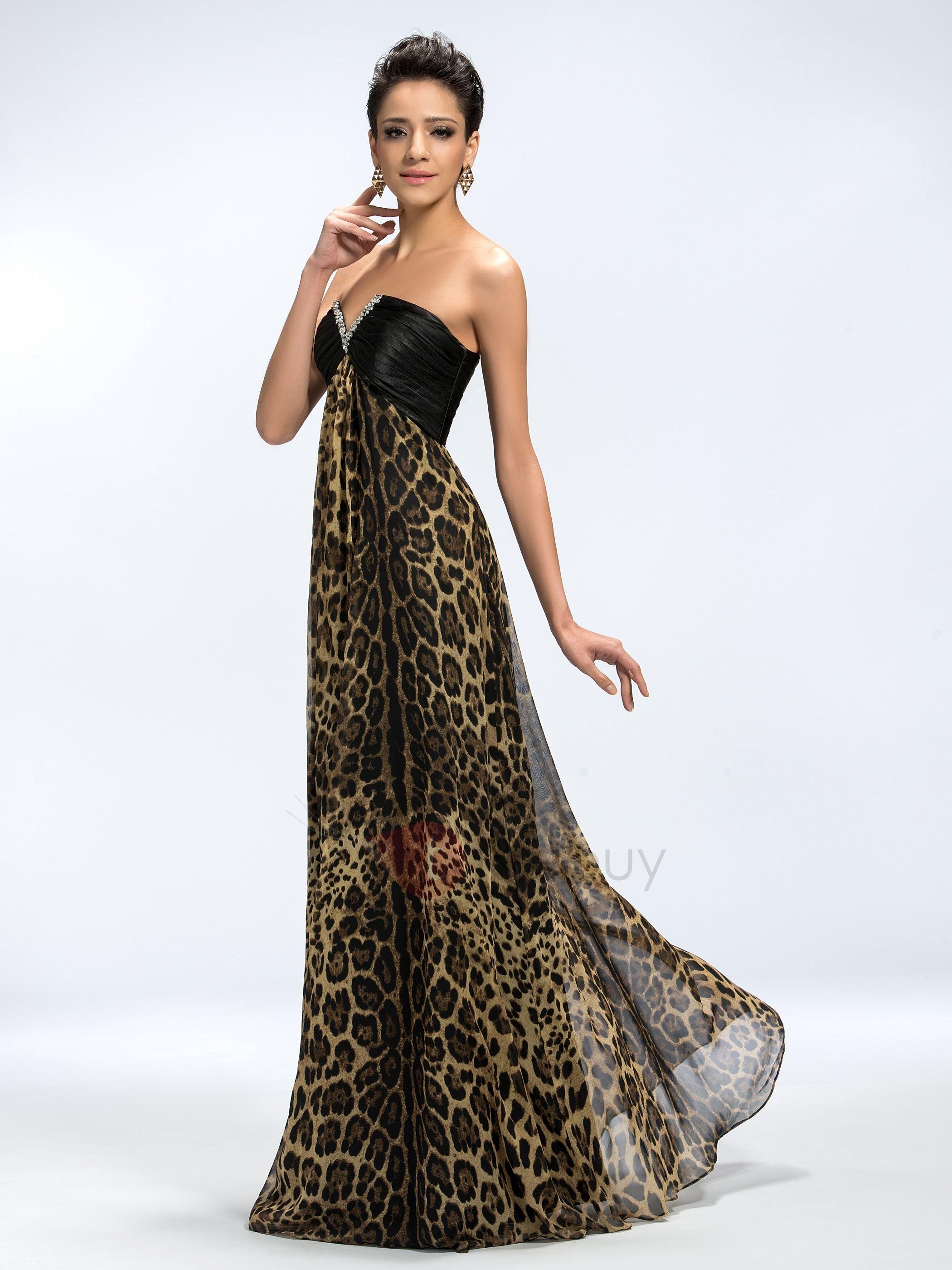 3e4c738db Vestido de Noche de Fiesta A-Línea V-Cuello de las Lentejuelas Estampado  Leopardo Largo (Envío Gratuito)   Tidebuy.com