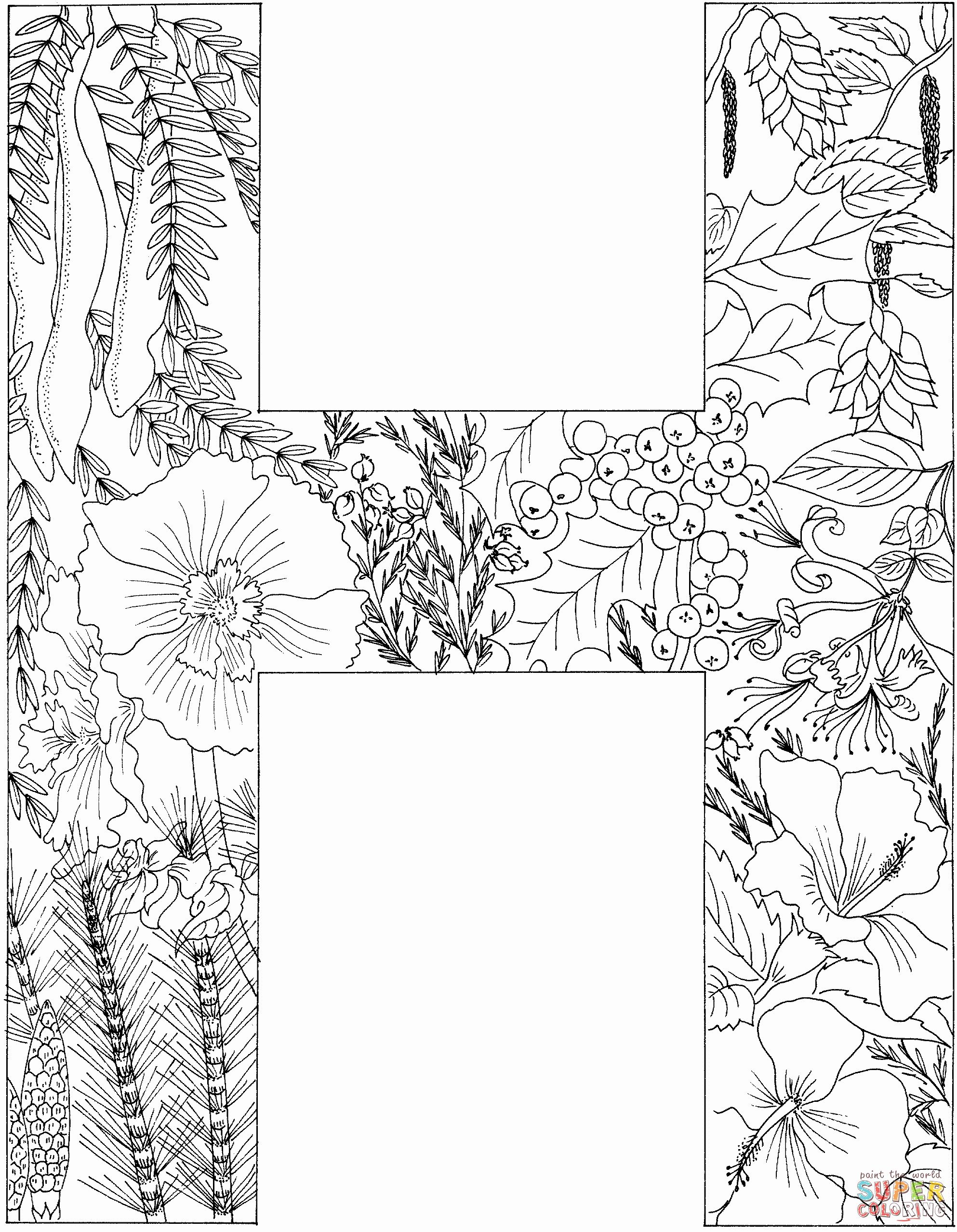 Letter H Coloring Page Inspirational Letter H With Plants Coloring Page In 2020 Alphabet Coloring Pages Coloring Pages Free Disney Coloring Pages