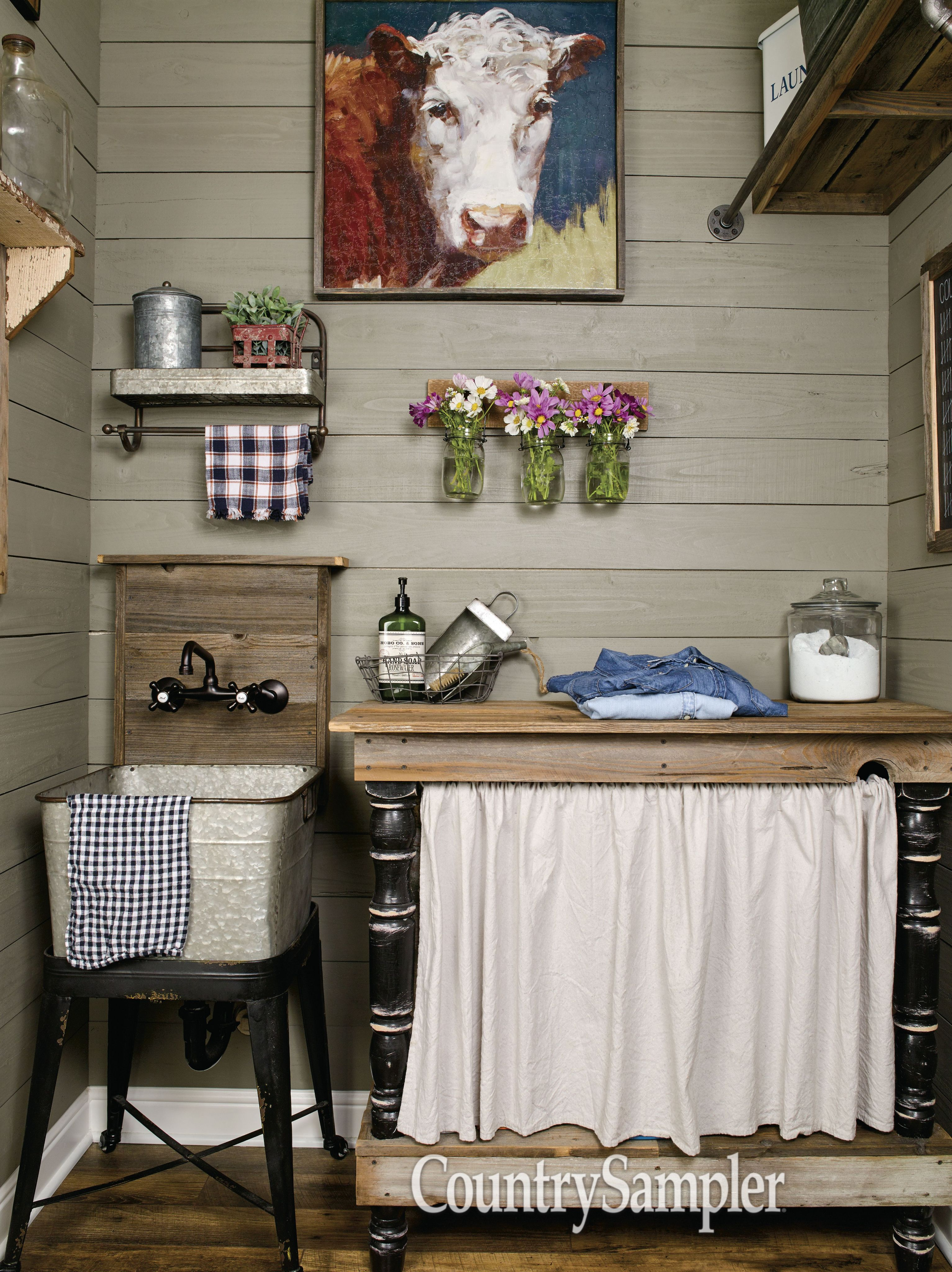 As Seen In The Article Living The Dream In The March 2018 Issue Of Country Sampler Living Room Furniture Layout Primitive Laundry Rooms Country Laundry Rooms