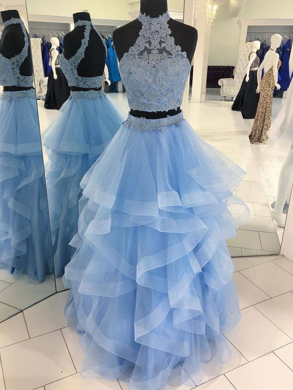 Eyecatching tulle highneck neckline twopiece aline prom dresses