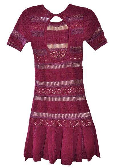 Vestido-trico-rendado-manga-3-4-roxo | Galeria Tricot - Galeria Tricot