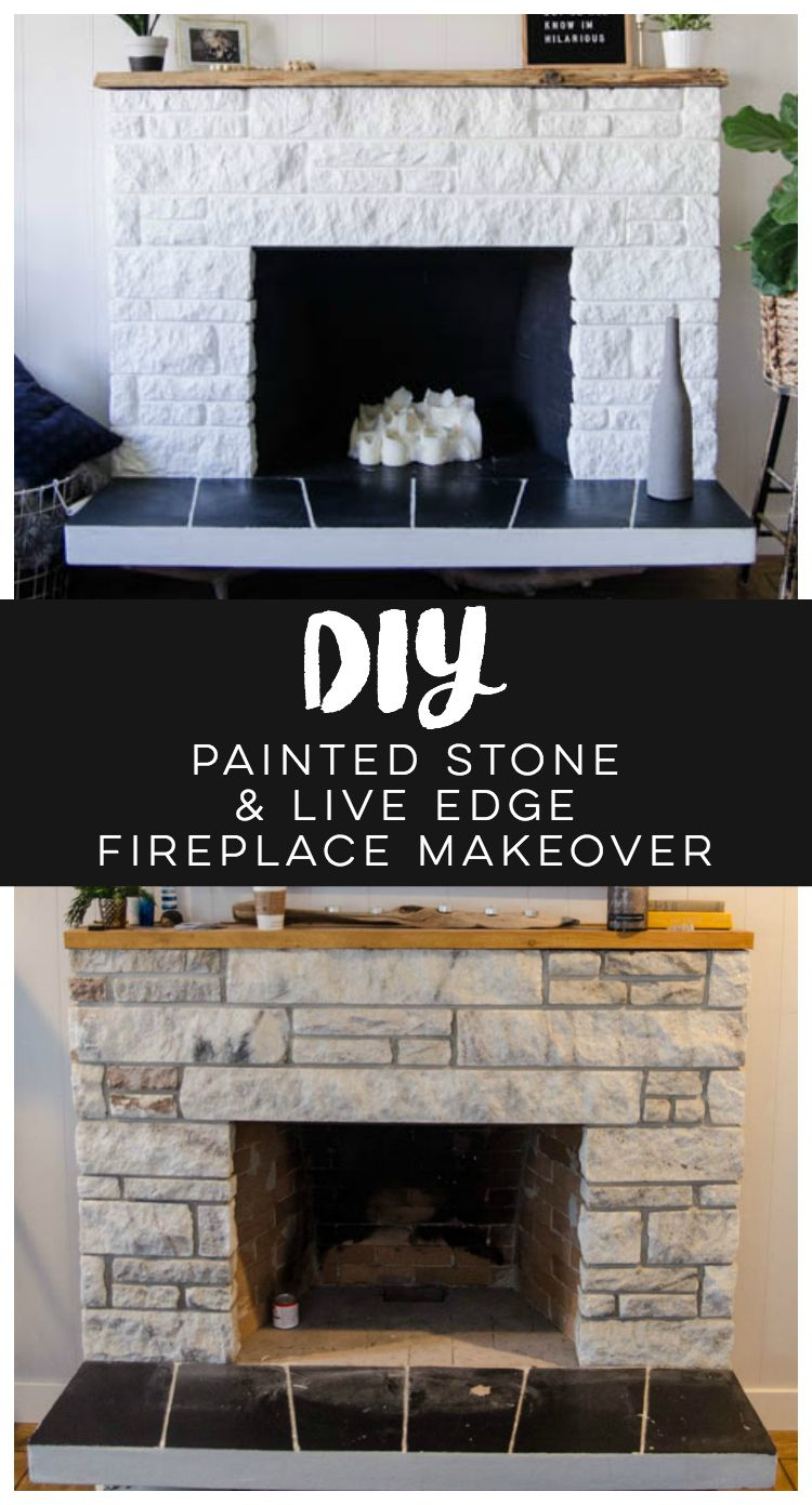 diy fireplace refresh with painted stone u0026 live edge mantle great
