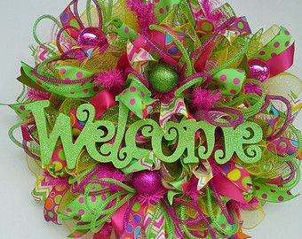 Ruffle Metallic Deco Mesh Summer Party Wreath with lively ribbons in pink, yellow and lime green features glitter Welcome sign and ornaments