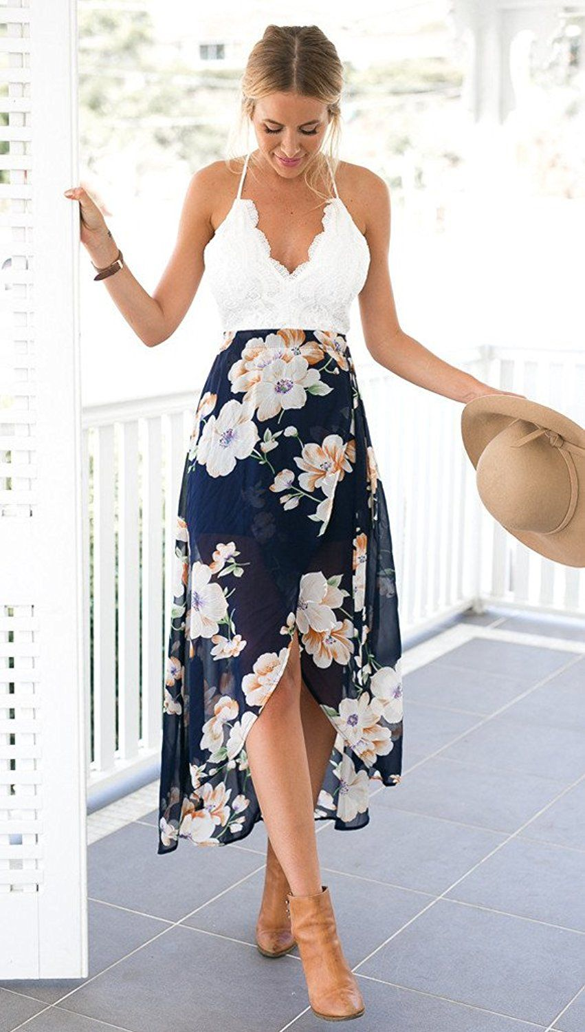 e8c86b5940 Blooming Jelly Women s Deep V Neck Sleeveless Summer Floral Long Halter  Dress at Amazon Women s Clothing store