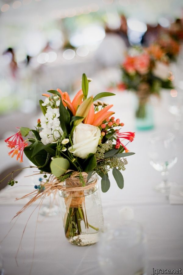 wedding centerpieces mason jars flowers - Google Search