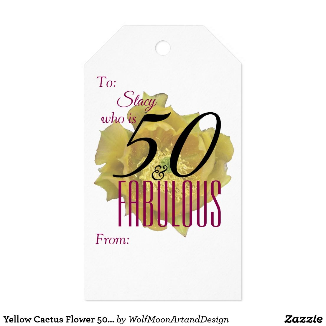 Yellow Cactus Flower 50 And Fabulous Birthday Gift Tags