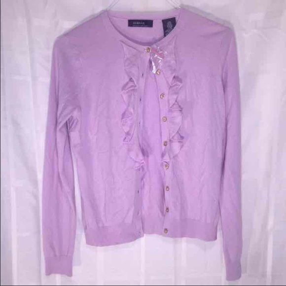 New Ladies Lilac Cardigan W Ruffles Medium New with tags, ladies cardigan. Comes from a smoke free - pet free home. Sweaters Cardigans