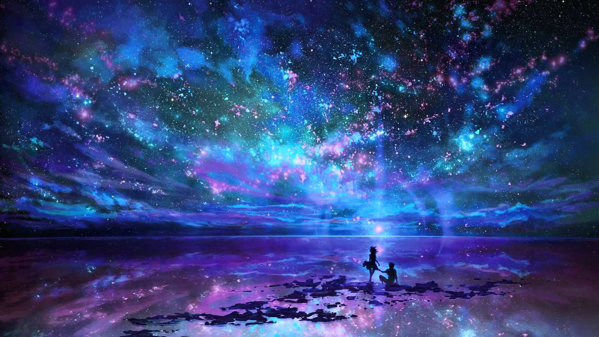 Digital Art Space Sky Scenery Hd Wallpaper 1920x1080 Id 50709 Anime Scenery Landscape Wallpaper Fantasy Star