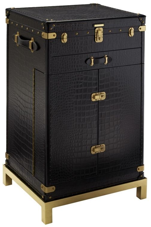 Pullmann Möbel pullman style trunk bar with embossed crocodile leather polished