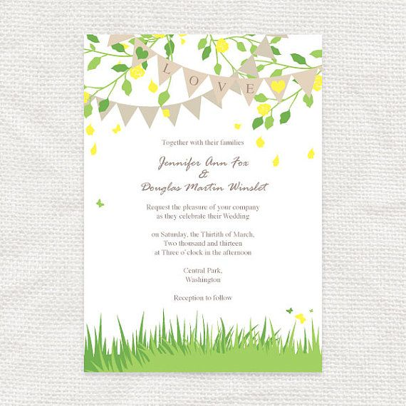Printable wedding invitation garden fete outdoor wedding spring