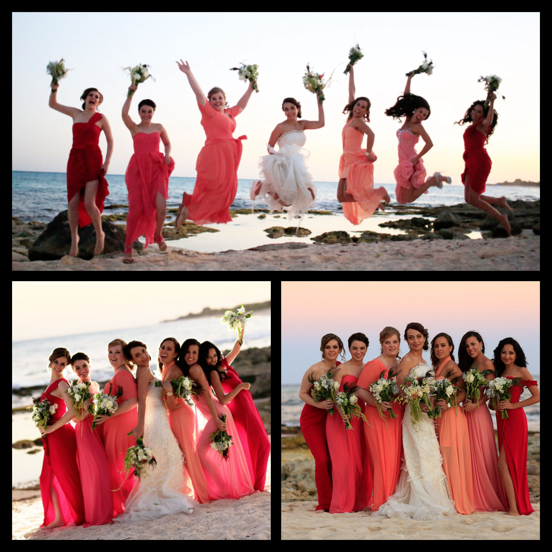 Love the idea of having a color pallet and the brides maids choose love these mismatched bridesmaid dresses in shades of peach coral red ombrellifo Gallery