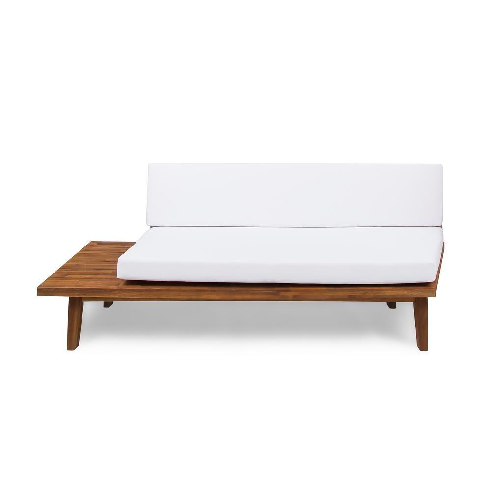 Noble House Reginald Sandblast Wood Outdoor Left Sided Sofa With White Cushion Patio Furniture Cushions White Cushions Sandblasted Wood