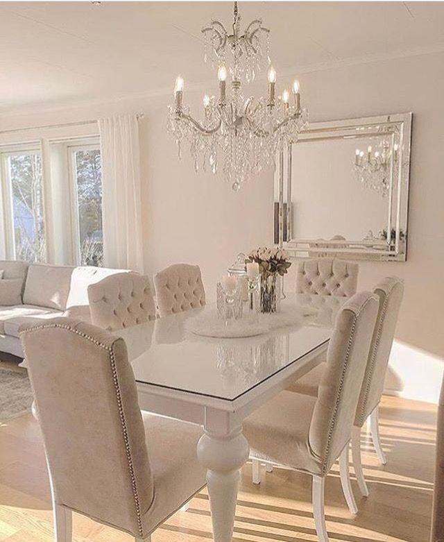 Beautiful Cream Colored Dining Room Set Decoracao Sala De