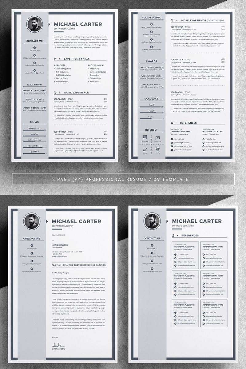 Michael Carter Resume Template Infographic