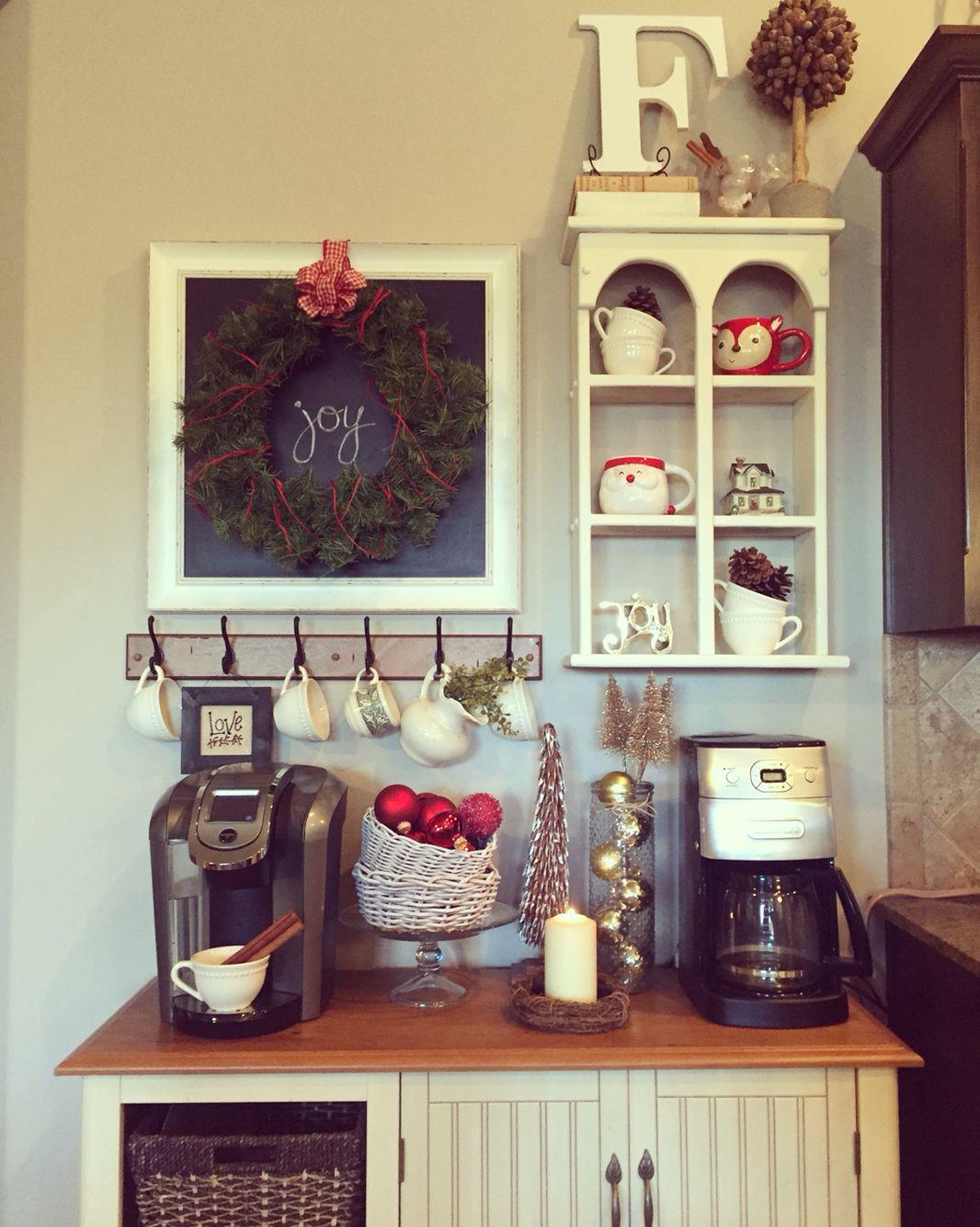 Farmhouse style Christmas coffee bar. Coffee bar home