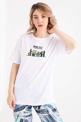 simit yaka kaktus nakisli t shirt kadin giyim triko uzun elbi se